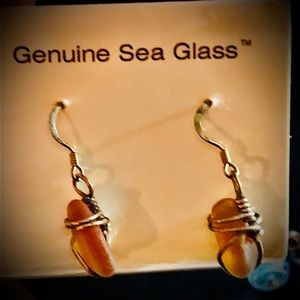 NWT Amber Sea Glass 925 Wire Wrapped Artisan Made